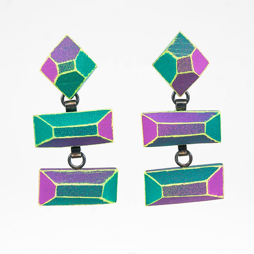 Front view from Mauve & Jade with Neon Yellow contrasted edges dangle earrings