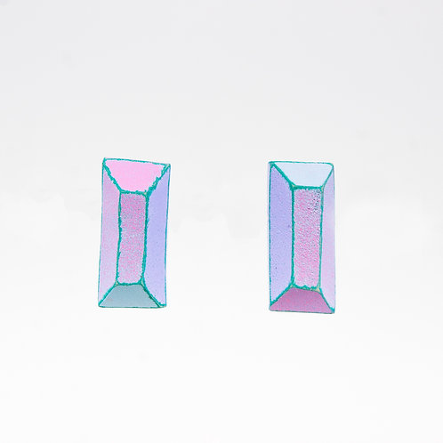Front view from Pastel colours with Cyan contrasting edges stud earrings