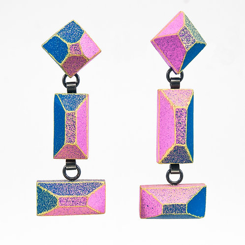 Front view from Blue de France and Punch Pink colours with Pastel Yellow contrasted edges dangle earrings