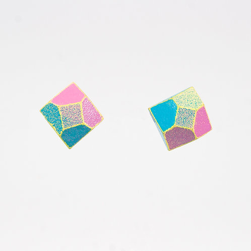 Front Detail view from Punch Pink and Sapphire Blue with contrasted Yellow edges stud earrings