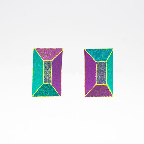 Front view from Mauve & Jade with Neon Yellow contrasted edges stud earrings