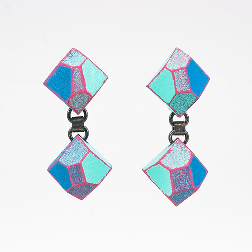 Front view from Blueish colours with Magenta contrasting edges dangle earrings