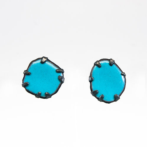 Front view from Prussian Blue stud earrings