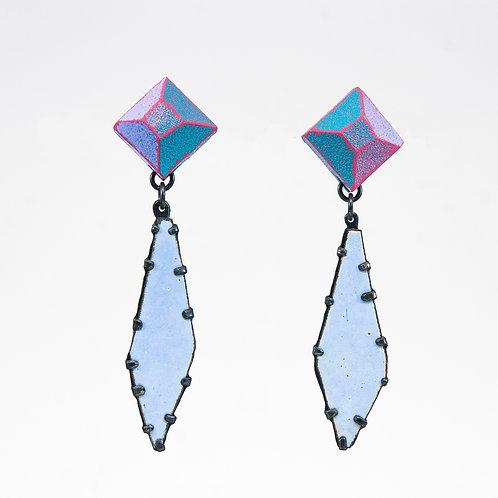 Front view from Baby Blue enamel gem dangle earrings