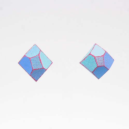 Front Detail view from  Pastel colours with Hot Pink contrasting edges stud earrings