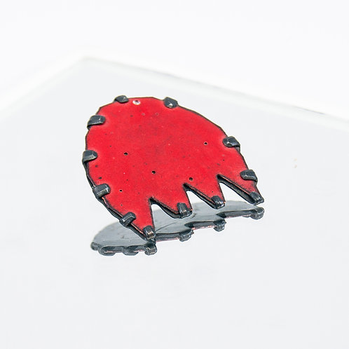 Front view from Pac Man pin in Red