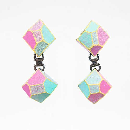 Front view from Maya Blue and Pink with Yellow contrasting edges dangle earrings