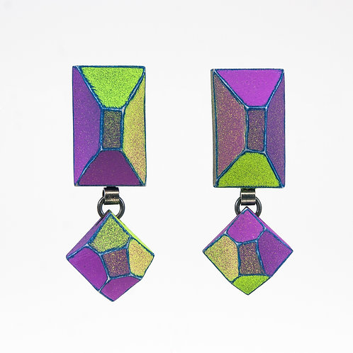 Front view from Green Neon and Malva with Deep Blue contrasting edges dangle earrings