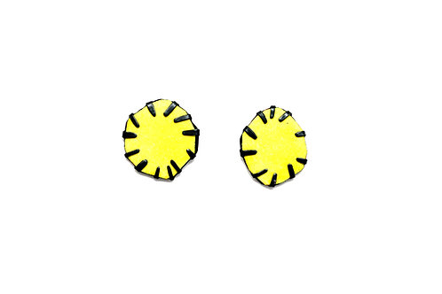 Front view from Yellow stud earrings