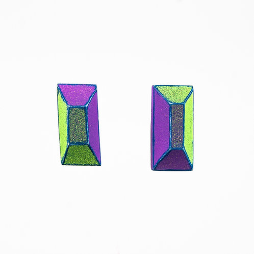 Front view from Neon Green and Violet with Blue contrasting edges stud earrings