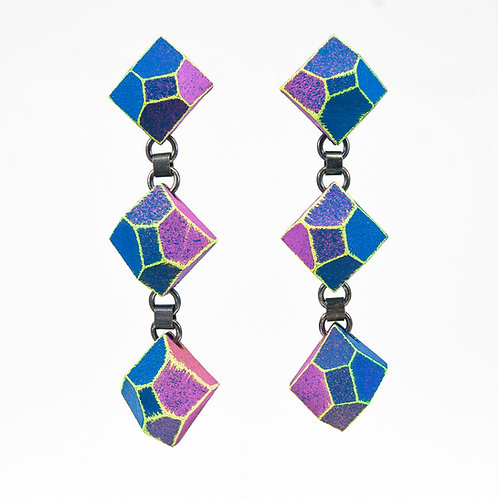 Front view from Blue colours with contrasted Neon Yellow edges dangle earrings