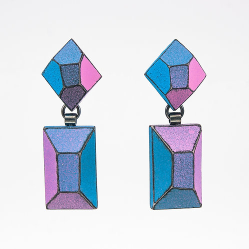 Front view from Blue and Malva Pink with contrasted Black edges dangle earrings