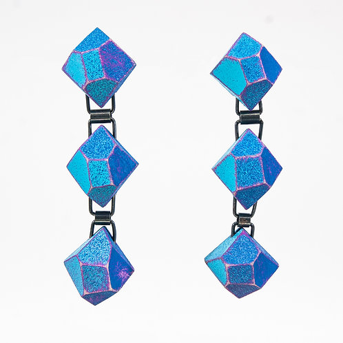 Front view from Blueish hue colours with contrasted Hot Pink edges dangle earrings
