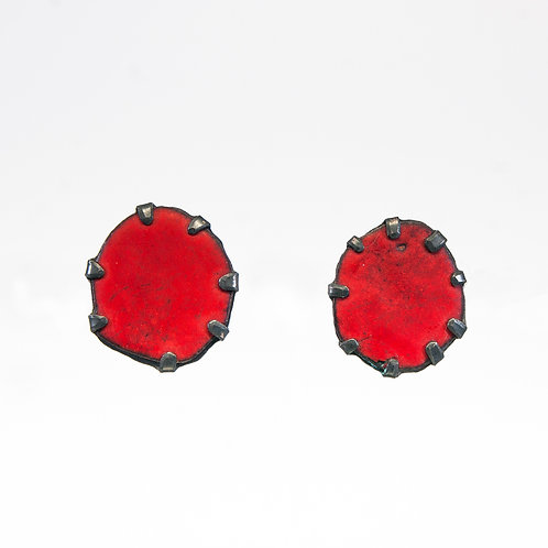 Front view from Red stud earrings