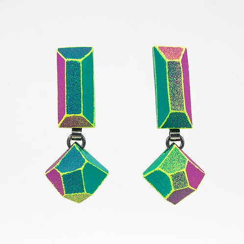 Front view from Jade and Malva with Neon Yellow contrasting edges dangle earrings