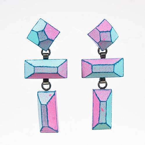 Front view from Cyan and Hot Pink colours with Deep Blue contrasted edges dangle earrings