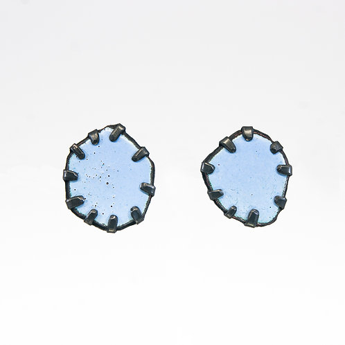 Front view from Baby Blue stud earrings