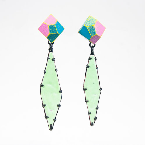 Front view from Green Tea enamel gems dangle earrings