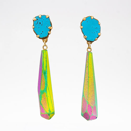 Front view from Deep Blue Sky enamel gems dangle earrings, goldplated