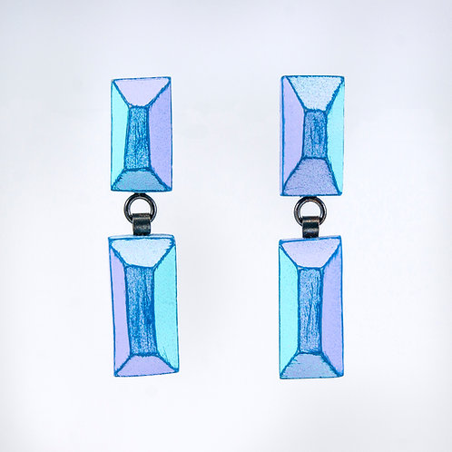 Front view from Cyan and Lilac with Dark Blue contrasting edges dangle earrings