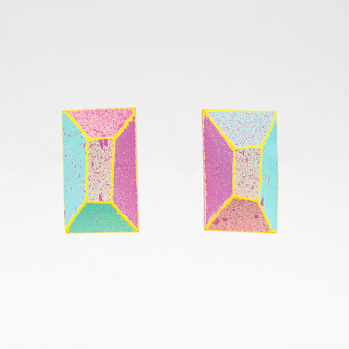 Front view from Pastel colours with Yellow contrasting edges stud earrings