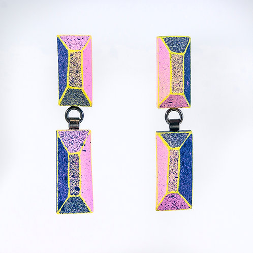 Front view from Dark Blue and Pink with Pastel Yellow contrasting edges dangle earrings