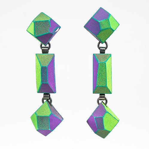 Front view from  Green & Malva Neon colours with Jade contrasted edges dangle earrings