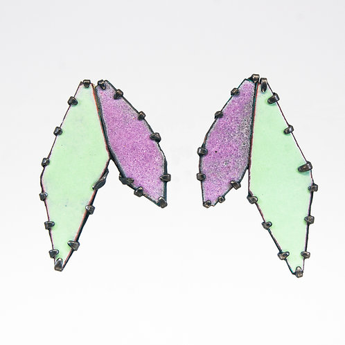 Front view from Green Tea and Malva enamel gems stud earrings