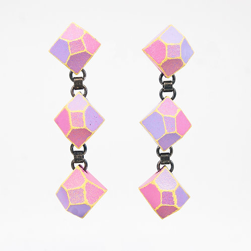 Front view from Lilac and Pink Pastel with Yellow contrasted edges dangle earrings
