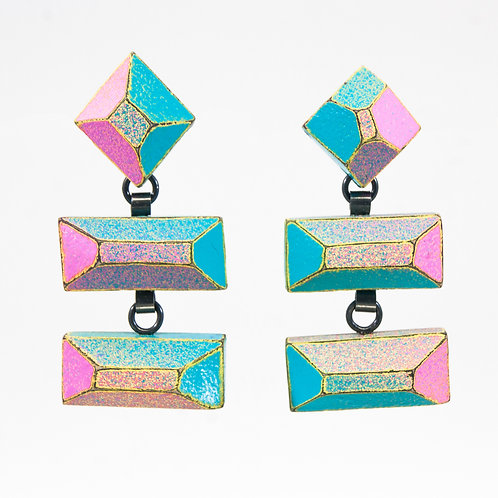 Front view from Hot Pink & Turquoise with Yellow contrasted edges dangle earrings