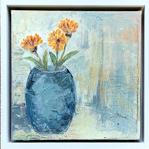 Calendula in Blue vase