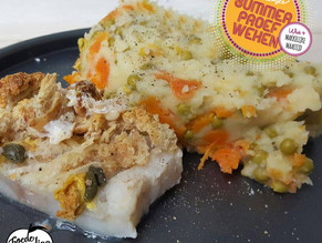 Makkelijke Maaltijd: Vis met een korstje en romige wortel-doperwtenpuree.