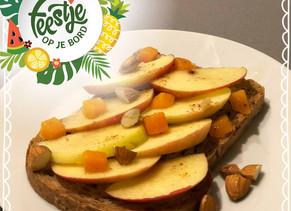 Feestje op je bord: boterham met appel en mango