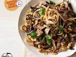 Vega week: Volkorenspaghetti met walnotensaus en champignons