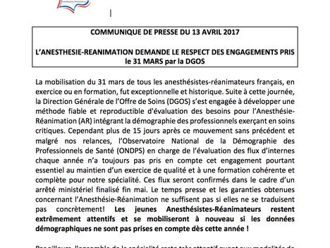 Suite à la mobilisation massive de la filière Anesthésie-Réanimation le 31 Mars, nous demandons le r