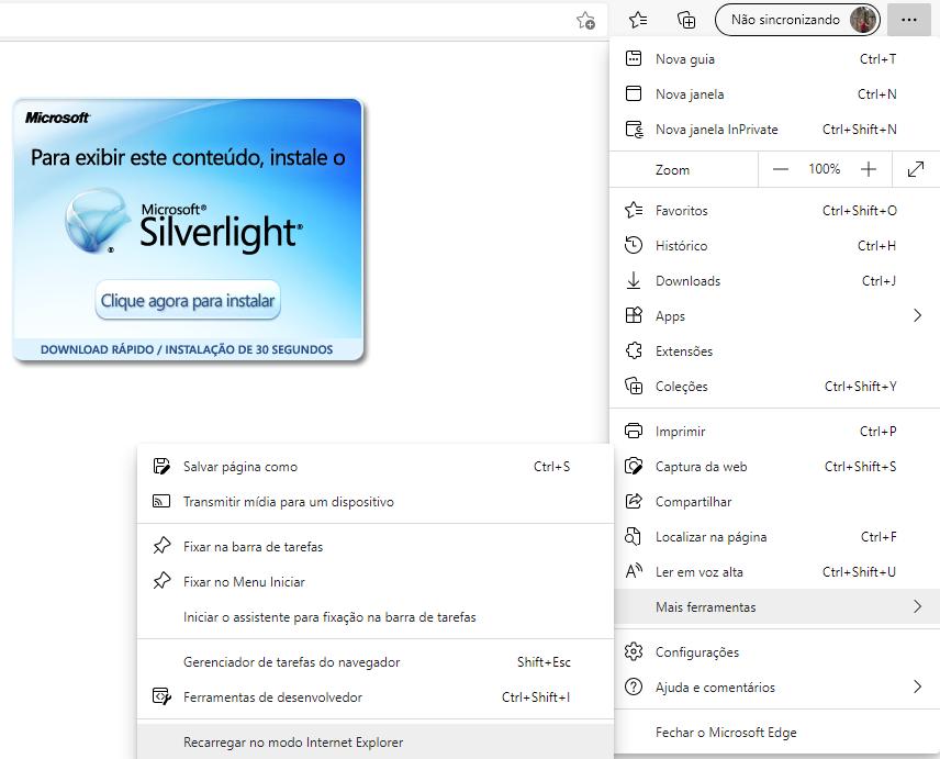 Recarregar no modo Internet Explorer