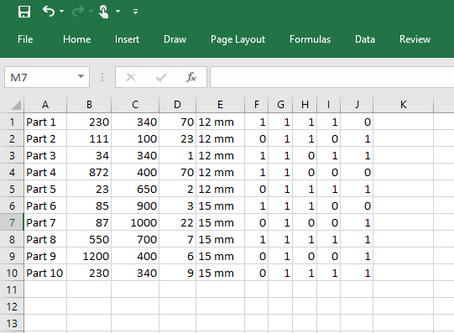 Excel csv file import column configuration