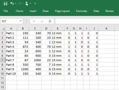 Excel csv file import column configuration