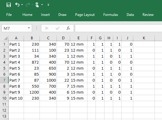 Part List Excel Spreadsheet
