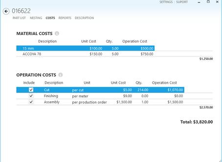 Sheet metal cost estimating