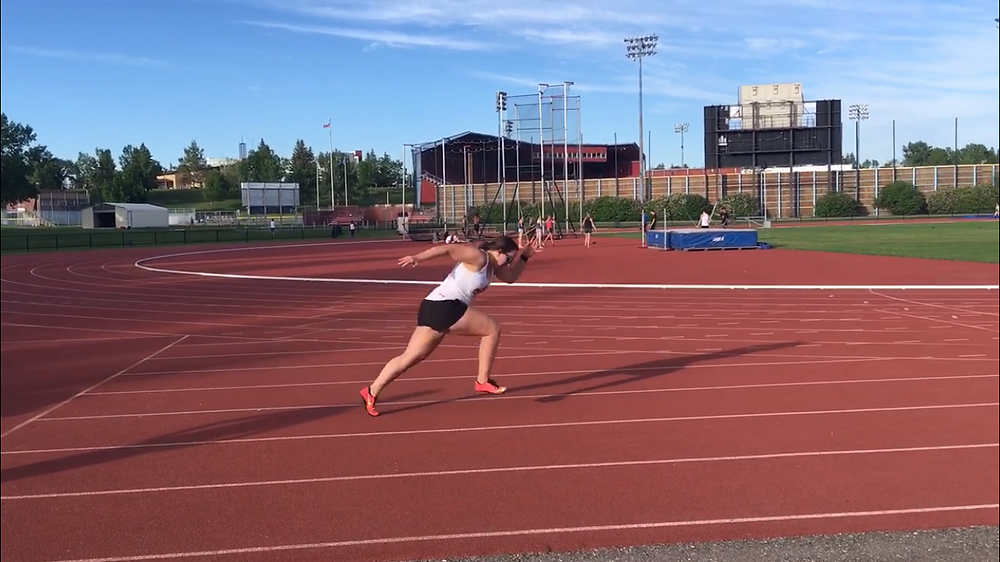 3rd step sprint position at the track