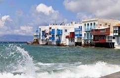 cyclades mykonos waves on promenade copy