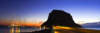 monemvasia greece sunset sailboats pello