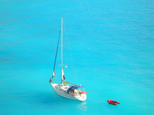 sailboat blue sea ionian aegean greece c