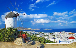 MYKONOS WINDMILL SKY CLOUDS DAY SEA CYCL