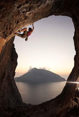 dreakalymnos eastern aegean woman cliff