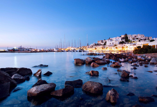 naxos sunset town sea lights aegean cycl