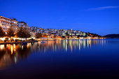 kastoria night lake lights northern gree