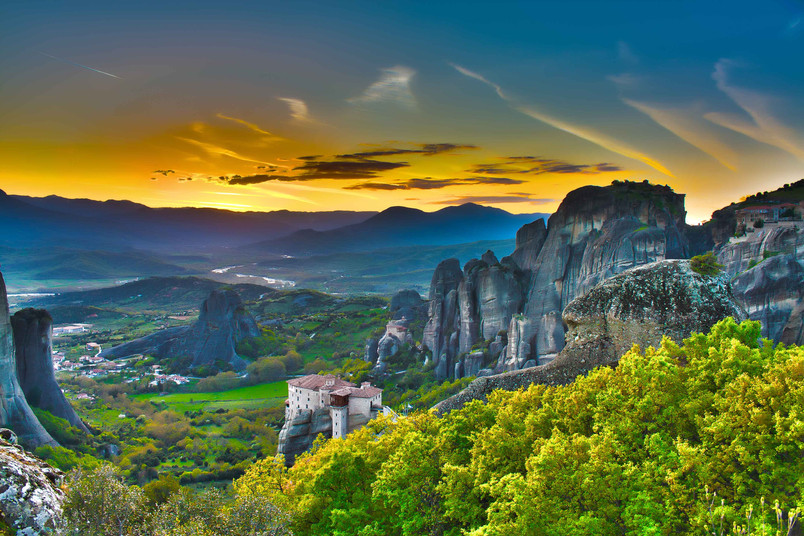 sunset meteora mountains churches monast