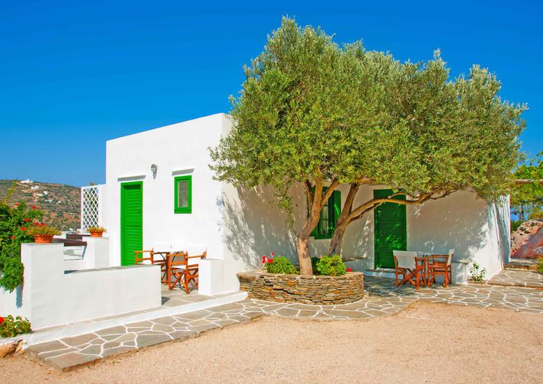 milos white house tree greece aegean cyc